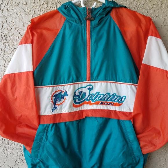 buy popular bc86e 613e8 Vintage 90's Miami Dolphins NFL rain Jacket w/hood